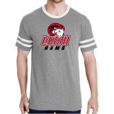 Grey Heather/White Tri Blend Varsity Tee-WSSU Rams