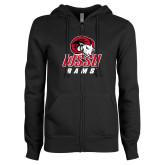 ENZA Ladies Black Fleece Full Zip Hoodie-WSSU Rams