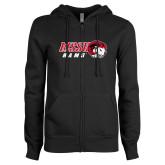 ENZA Ladies Black Fleece Full Zip Hoodie-WSSU Rams Horizontal