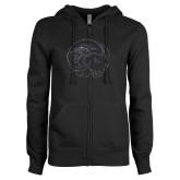 ENZA Ladies Black Fleece Full Zip Hoodie-F Graphite Soft Glitter
