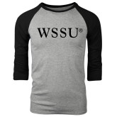 Grey/Black Tri Blend Baseball Raglan-WSSU Flat
