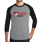 Grey/Black Tri Blend Baseball Raglan-Baseball