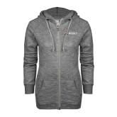 ENZA Ladies Grey/Black Marled Full Zip Hoodie-Ram WSSU