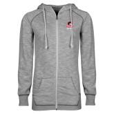 ENZA Ladies Grey/Black Marled Full Zip Hoodie-WSSU Rams