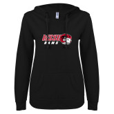 ENZA Ladies Black V Notch Raw Edge Fleece Hoodie-WSSU Rams Horizontal