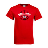 Red T Shirt-Basketball Arched w/ Ball