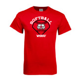 Red T Shirt-Softball Diamond and Seams