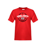 Youth Red T Shirt-Basketball Arched w/ Ball