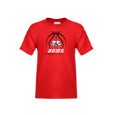 Youth Red T Shirt-Basketball Stacked