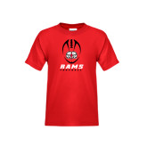 Youth Red T Shirt-Football Vertical Stacked