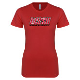 Next Level Ladies SoftStyle Junior Fitted Red Tee-WSSU Rams Stacked