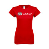 Next Level Ladies SoftStyle Junior Fitted Red Tee-Ram WSSU