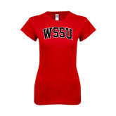 Next Level Ladies SoftStyle Junior Fitted Red Tee-Arched WSSU