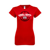 Next Level Ladies SoftStyle Junior Fitted Red Tee-Basketball Arched w/ Ball