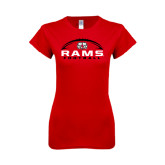 Next Level Ladies SoftStyle Junior Fitted Red Tee-Football Horizontal Stacked