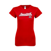 Next Level Ladies SoftStyle Junior Fitted Red Tee-Baseball Script
