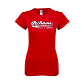 Next Level Ladies SoftStyle Junior Fitted Red Tee-Softball Script w/ Ball