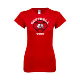 Next Level Ladies SoftStyle Junior Fitted Red Tee-Softball Diamond and Seams