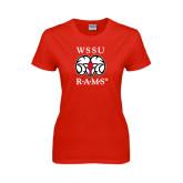 Ladies Red T Shirt-Stacked WSSU Rams