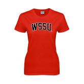 Ladies Red T Shirt-Arched WSSU