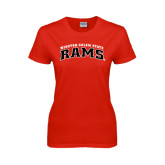 Ladies Red T Shirt-Arched Winston-Salem Rams