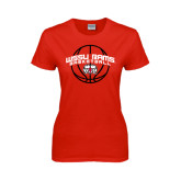 Ladies Red T Shirt-Basketball Arched w/ Ball