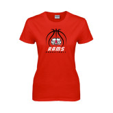 Ladies Red T Shirt-Basketball Stacked
