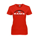 Ladies Red T Shirt-Football Horizontal Stacked