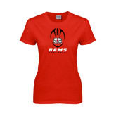 Ladies Red T Shirt-Football Vertical Stacked