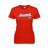 Ladies Red T Shirt-Baseball Script