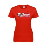 Ladies Red T Shirt-Softball Script w/ Ball