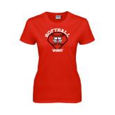 Ladies Red T Shirt-Softball Diamond and Seams
