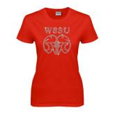 Ladies Red T Shirt-WSSU Ram Rhinestones