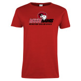 Ladies Red T Shirt-WSSU Rams Mascot Mark