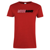 Ladies Red T Shirt-WSSU Rams Wordmark