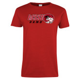 Ladies Red T Shirt-WSSU Rams Distressed
