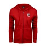 ENZA Ladies Red Fleece Full Zip Hoodie-Stacked WSSU Rams