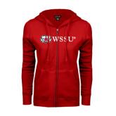 ENZA Ladies Red Fleece Full Zip Hoodie-Ram WSSU