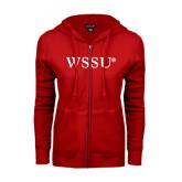 ENZA Ladies Red Fleece Full Zip Hoodie-WSSU Flat