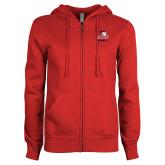 ENZA Ladies Red Fleece Full Zip Hoodie-WSSU Rams
