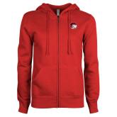 ENZA Ladies Red Fleece Full Zip Hoodie-Ram Head