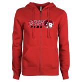 ENZA Ladies Red Fleece Full Zip Hoodie-WSSU Rams Horizontal