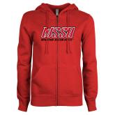 ENZA Ladies Red Fleece Full Zip Hoodie-WSSU Rams Stacked