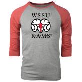 Grey/Red Heather Tri Blend Baseball Raglan-Stacked WSSU Rams
