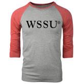 Grey/Red Heather Tri Blend Baseball Raglan-WSSU Flat