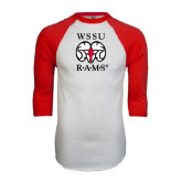 White/Red Raglan Baseball T-Shirt-Stacked WSSU Rams