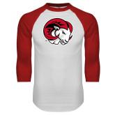 White/Red Raglan Baseball T Shirt-Ram Head