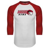 White/Red Raglan Baseball T Shirt-WSSU Rams Horizontal