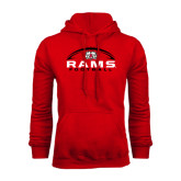 Red Fleece Hoodie-Football Horizontal Stacked