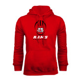 Red Fleece Hoodie-Football Vertical Stacked